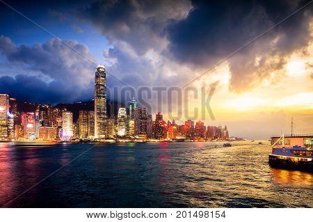 Victoria harbour Hong Kong skyline, Hong Kong China
