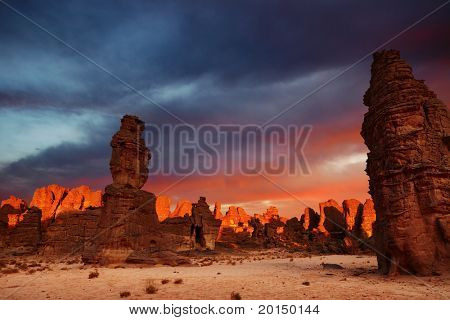 Dramatic sunrise in Sahara Desert, Tassili N'Ajjer, Algeria