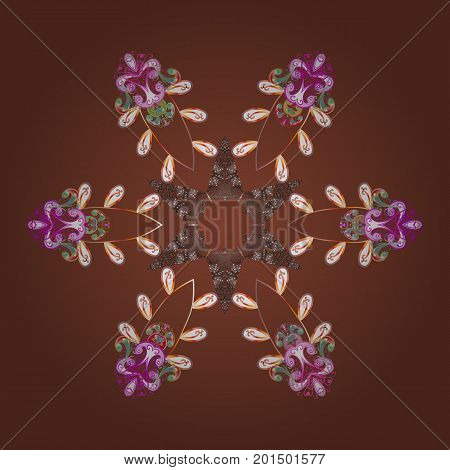 Snowflakes pattern. Vector illustration. Vector snowflakes background. Flat design with abstract snowflakes isolated on colors background. Snowflake colorful pattern.