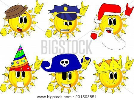 Cartoon sun with hands in rocker pose. Collection with costume. Expressions vector set.