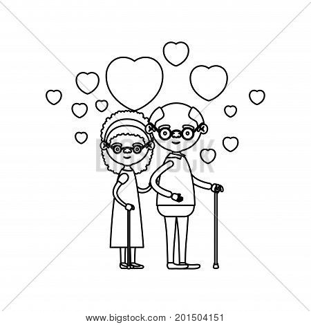 sketch silhouette of caricature full body elderly couple embraced with floating hearts grandfather with glasses in walking stick and grandmother with bow lace and curly hair vector illustration
