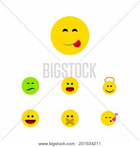 Flat Icon Face Set Of Descant, Wonder, Frown And Other Vector Objects
