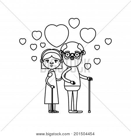 sketch silhouette of caricature full body elderly couple embraced with floating hearts beard grandfather in walking stick and grandmother with bow lace and short hair vector illustration