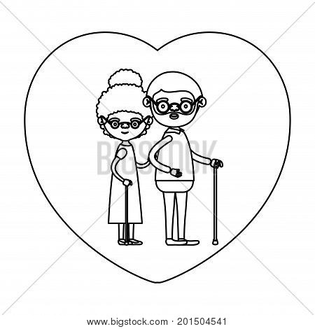 sketch silhouette of heart shape greeting card with caricature full body elderly couple embraced bearded grandfather in walking stick and grandmother with curly bun hair vector illustration