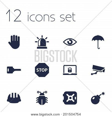 Collection Of Look, Hand , Sign Elements.  Set Of 12 Safety Icons Set.