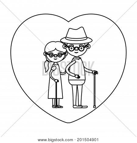 sketch silhouette of heart shape greeting card with caricature full body elderly couple embraced grandfather with hat in walking stick and grandmother with ponytail side hair vector illustration