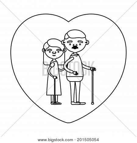 sketch silhouette of heart shape greeting card with caricature full body elderly couple embraced grandfather with moustache in walking stick and grandmother with straight hair vector illustration