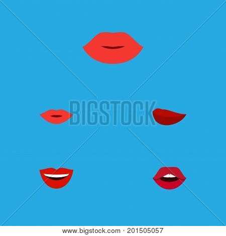 Flat Icon Mouth Set Of Smile, Teeth, Kiss And Other Vector Objects