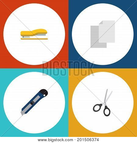 Flat Icon Equipment Set Of Knife, Sheets, Clippers And Other Vector Objects