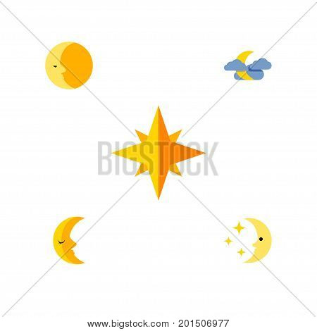 Flat Icon Bedtime Set Of Nighttime, Lunar, Midnight And Other Vector Objects