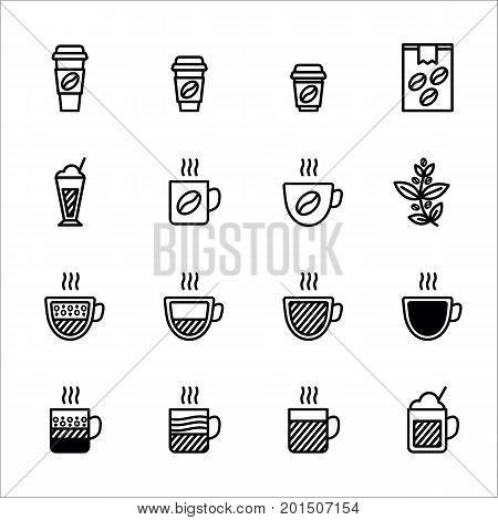 Coffee vector icon set. latte, espresso, cappuccino