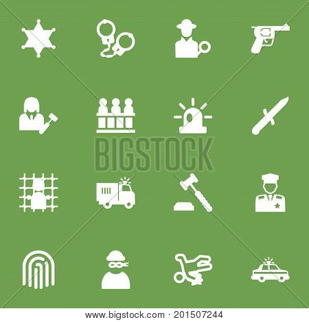 Collection Of Jury, Truck, Thumbprint And Other Elements.  Set Of 16 Criminal Icons Set.