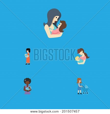 Flat Icon Mam Set Of Mam, Baby, Child And Other Vector Objects