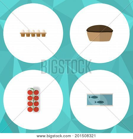 Flat Icon Food Set Of Tomato, Tin Tuna, Tart And Other Vector Objects