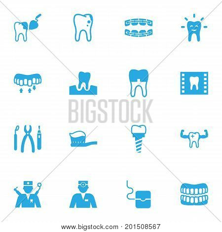 Collection Of Roentgen, Tooth, Toothpaste And Other Elements.  Set Of 16 Teeth Icons Set.
