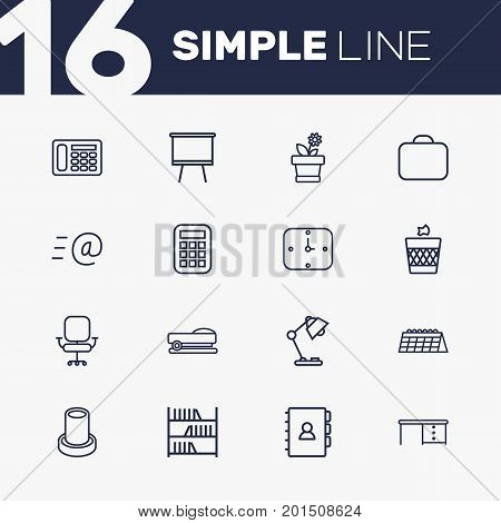 Collection Of Staple, Desk, Wall Clock And Other Elements.  Set Of 16 Bureau Outline Icons Set.