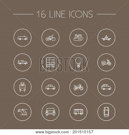 Collection Of Motorcycle, Helicopter, Moped And Other Elements.  Set Of 16 Shipping Outline Icons Set.