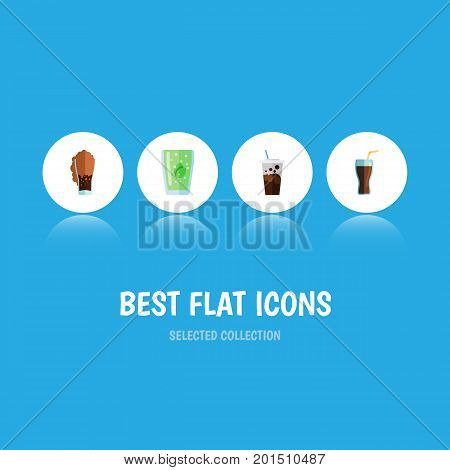 Flat Icon Soda Set Of Fizzy Drink, Soda, Cup And Other Vector Objects