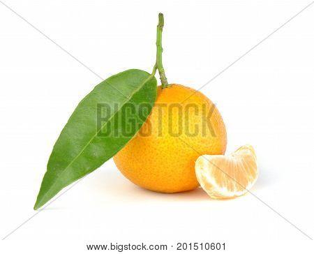 Mandarine orange with segment, isolated on white background
