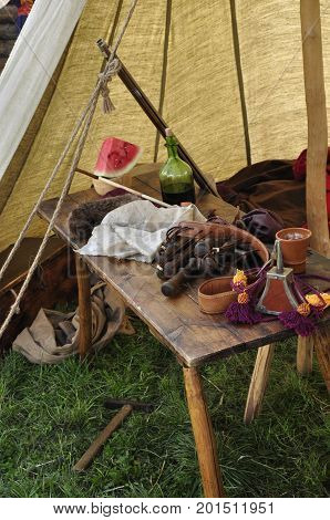 schorl, watermelon, tent, camping, writing, gunpowder, cloth, bottle, rum, alcohol, drink, hammer
