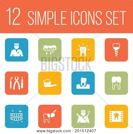 Collection Of Roentgen, Implantation, Toothpaste And Other Elements.  Set Of 12 Dentist Icons Set.