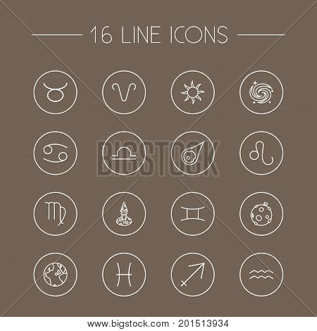 Collection Of Aries, Globe, Cancer And Other Elements.  Set Of 16 Horoscope Outline Icons Set.