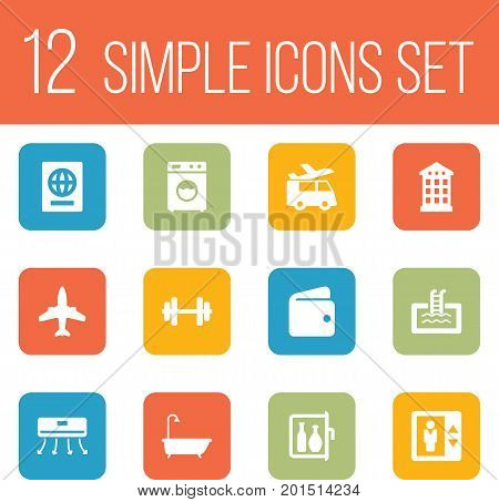 Collection Of Transportation, Citizenship, Basin And Other Elements.  Set Of 12 Motel Icons Set.