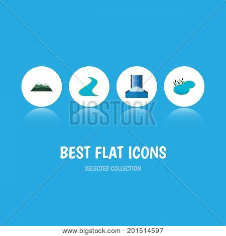 Flat Icon Bio Set Of Tributary, Cascade, Pond And Other Vector Objects