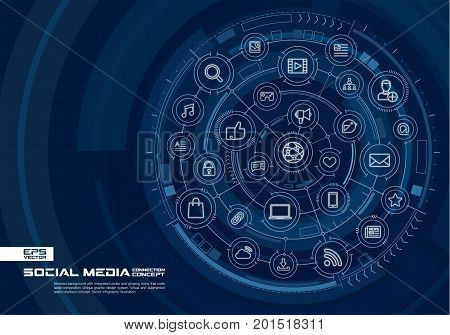 Abstract Social Media background. Digital connect system with integrated circles, glowing thin line icons. Virtual, augmented reality interface concept. Vector future infographic illustration
