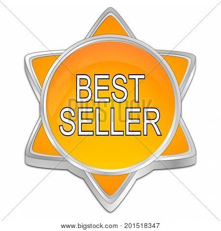 decorative orange Bestseller button - 3D illustration