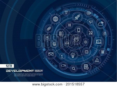 Abstract development, programming background. Digital connect system with integrated circles, glowing line icons. Virtual, augmented reality interface concept. Vector future infographic illustration