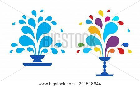 Set vector icon fountain. Logo design template fountain and drop. Blue fountain isolated on white background. A fountain of drops of paint. The festival of colors.