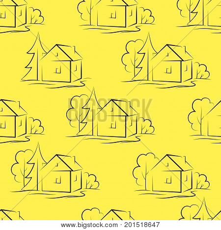 Seamless Pattern with Black Pictogram Country Houses and Trees on Tile Yellow Background. Vector