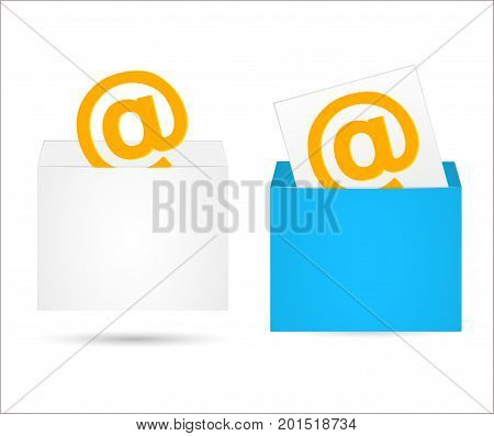 Envelope with the letter. An email with a blue envelope vector illustration. An empty envelope for your projects.