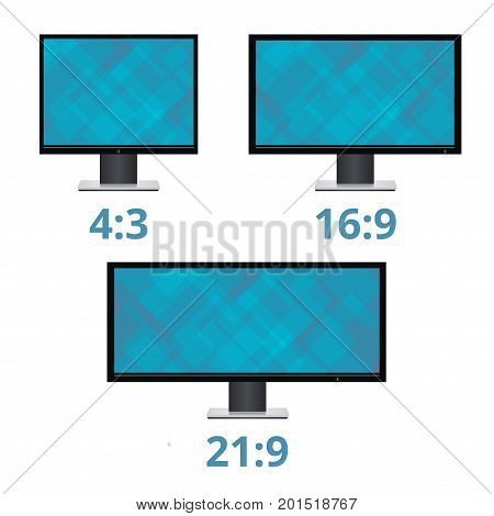 Vector icon monitor sizes 4:3 16:9 21:9. TV screen lcd monitor template electronic device technology. isolated on white background