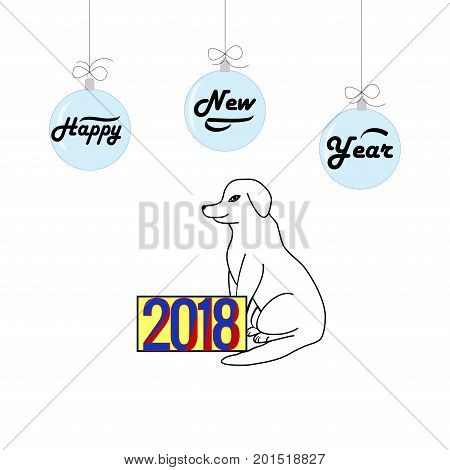 Dog is a symbol of the 2018 Chine New Year. Fashion graphic background design. Modern stylish abstract texture. Colorful template for prints textiles wrapping wallpaper etc. Vector illustration