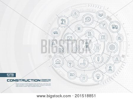Abstract construction technology background. Digital connect system with integrated circles, thin line icons. Interface design. Engineer, architecture, build concept. Vector infographic illustration