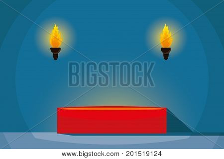 Red podium in a dark room with torches.