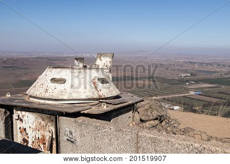 The destroyed battle tower that has remained since the War of the Doomsday (Yom Kippur War) on Mount Bental on the Golan Heights in Israel turned towards the