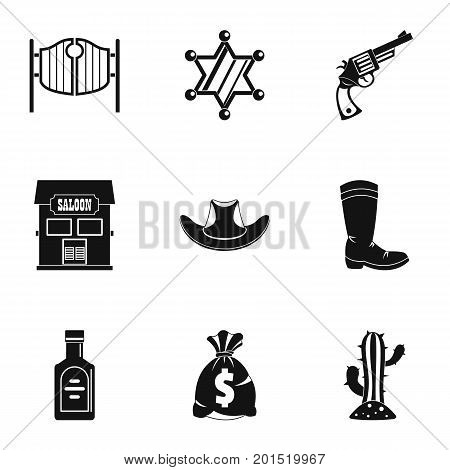 American cowboy icon set. Simple set of 9 american cowboy vector icons for web isolated on white background