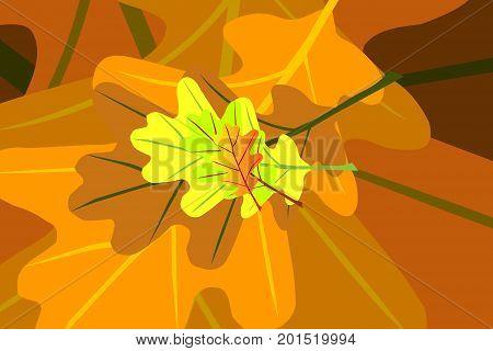 Oak leaf - autumn vector pattern , Yellow and orange oak leaves