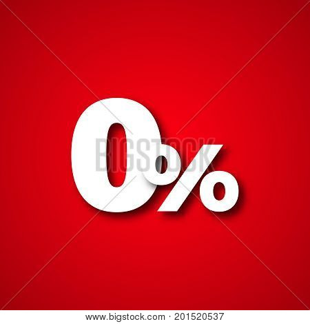 0 red percents  zero percent vector illustration