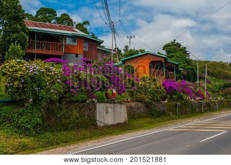 The Road And Houses In The Village On The Hill. Sabah, Borneo, Malaysia