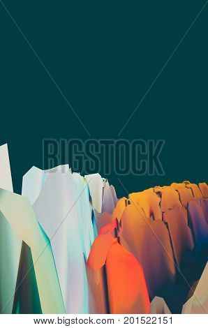 Background of glitch manipulations with 3D effect. Abstract surreal landscape unexpected habitat. It can be used for web design printed products and visualization of music.