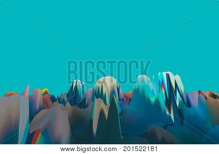 Background of glitch manipulations with 3D effect. Abstract surreal landscape unexpected habitat in turquoise shades. It can be used for web design printed products and visualization of music.