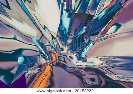 Background of glitch manipulations with 3D effect. Abstract flow of crystals in purple shades. It can be used for web design printed products and visualization of music