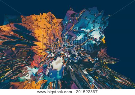 Background of glitch manipulations with 3D effect. Abstract flow of crystals in dark blue and orange shades. It can be used for web design printed products and visualization of music