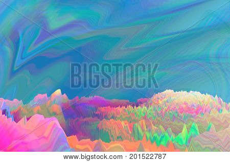 Background of glitch manipulations with 3D effect. Abstract colorful surreal landscape unexpected habitat. It can be used for web design printed products and visualization of music.