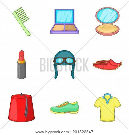 Gear icons set. Cartoon set of 9 gear vector icons for web isolated on white background