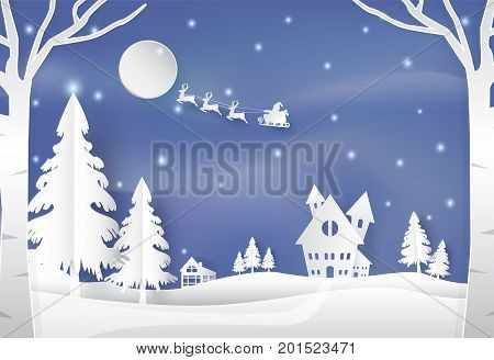 Winter holiday santa and deer with snow nature background. Christmas season paper art style illustration.